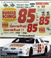 NASCAR DECAL #85 BURGER KING 1993 FORD THUNDERBIRD KEN BOUCHARD