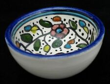 "VTG HANDCRAFTED FOLK ART BOWL FLORAL 3 1/4"" DIAM 1 3/4"" H"