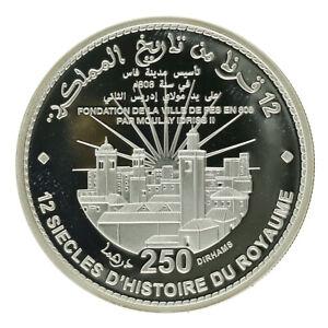 Morocco - Silver 250 Dirhams - '12 Centuries of Monarchy' - 2008 - Proof