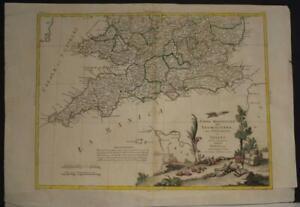 SOUTHERN ENGLAND WALES 1778 ANTONIO ZATTA UNUSUAL ANTIQUE COPPER ENGRAVED MAP