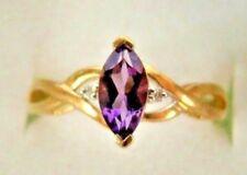 10K Solid Yello Gold Marquise AMETHYST Diamond Birthstone Engagement Ladies Ring