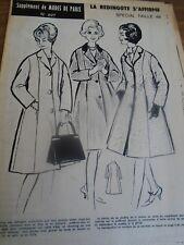 697 ANCIEN PATRON MODES DE PARIS CHIC ET ELEGANTE REDINGOTE   48 1961