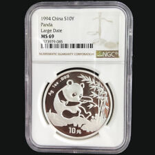 1994 China panda 1oz silver coin S10Y Large Date NGC MS69