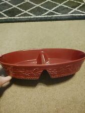 Temptations By Tara Solid Holly Vine Cranberry 2.0 Quart Divided Ovenware