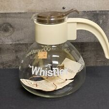 GEMCO Brand - The Whistler - Whistling Glass Coffee Pot Kettle - 8 Cup Cream NWT