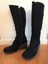 SKECHERS SOHO LAB Black Suede Knee High Wedge Boots 6.5 US