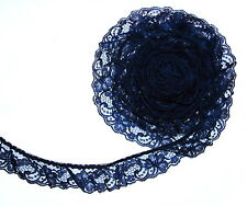 NAVY BLUE~2 Inch Wide Ruffled Floral Lace Trim~By 5 Yards