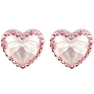 Tarina Tarantino Puff Heart & Bows White Lucite w/Pink Crystals Post Earrings