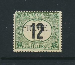 FIUME 1918,12f POSTAGE DUE, MLH OG Sc#J2c CAT$180 (SEE BELOW)