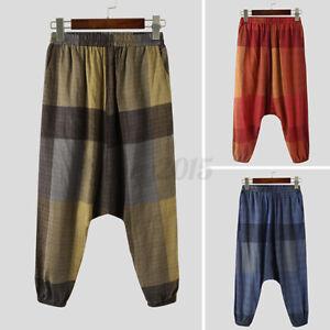 Men's Japanese Style Cotton Linen Floral Loose Pants Baggy Drop Crotch Trousers