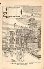 1885 ANTIQUE ARCHITECTURAL PRINT- CLUB ROOM,FACTOR'S HOUSE WATER OF LEITH