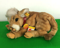 """14"""" Steiff Kalb Calf Cow Lying Plush With Bell, Button, & Tags #3795/27"""