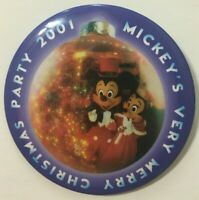 WDW Disney Mickey's Very Merry Christmas Party 2001 Button Pin Free Shipping