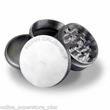 "2"" Indian Crusher Aluminum Grinder Crusher Tobacco Spice Herb Four Piece Silver"