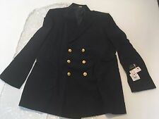 FLYING CROSS, USN COAT, DOUBLE BREASTED, GOLD BUTTONS, SIZE 48L, COLOR BLACK