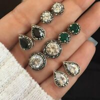 5 Pairs/Set BOHO Ear Stud Earrings Cubic Zircon Water Drop Green Black Gemstones