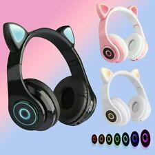 Bluetooth Katze Ohr Kopfhörer Gaming Headset Kopfhörer mit LED Licht für Kinder