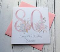 Happy 80th Birthday Card - Floral- Eighty Birthday Greeting Card - Mum - Nan