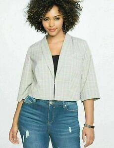 Eloquii Blazer Jacket Womens Plus 24 Gray Plaid Cropped NWT B99-06P