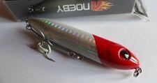 Noeby leurre pêche surface mer rivière 9cm 12,5g tête rouge, corps blanc holo