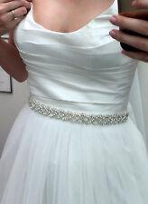 DANIELLE Diamante Rhinestone Crystal Bridal Belt Sash Any Colour Ribbon Plait