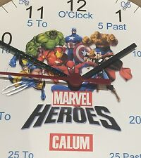 Boys Teaching wall Clock Marvel Super Hero Learn To Tell Time Personalised xmas