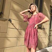 Topshop 117$ Velvet Trim Lace Flippy Dress Size 8 Dirty Pink # 155