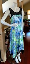 Cable & Gauge Asymmetrical A-Line Dress Blue Green Geometric Sleeveless NWT M