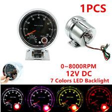 """3.75"""" 7 Color LED Car Tachometer 0-8000 RPM for 4,6,8 Cylinder Engine Shockproof"""