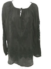 Chicos Womens Tunic Top Blouse Size 1 USA Size Med 8 Long Sleeves Crochet Black