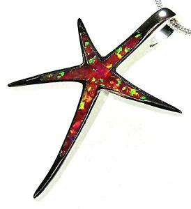 """Elegant Silver 925 SF Pendant Red Lab Fire Opal ABSTRACT STARFISH 1.25"""""""