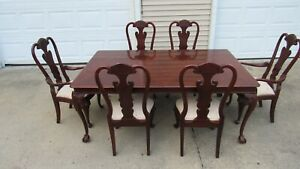 Lexington Mahogany Dining Room Set Table and Chairs Claw Foot