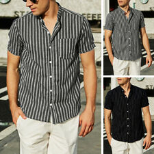Mens Short Sleeve Fashion V-Neck Button Up Top Casual Shirts Cotton Loose Blouse