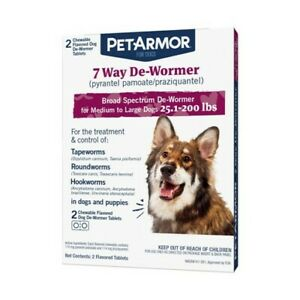 Pet Armor 7 Way De-Wormer Medium & Large Dogs 25 lbs to 200 lbs