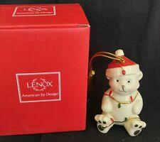 Lenox Christmas Ornament Teddy Bear w/ Lights Very Merry Porcelain Holiday NIB