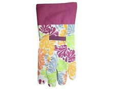 NEW Expert Gardener Women's Canvas Floral Multi-colored Gloves with Dots Size M