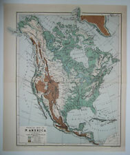 1901 VICTORIAN SMALL COLOUR PHYSICAL MAP OF NORTH AMERICA ~ New York ~ Columbia