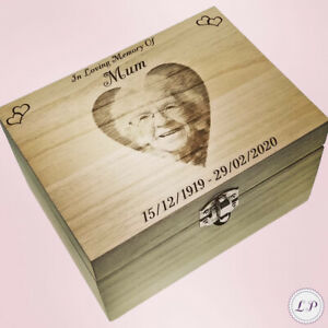 Human Ashes Urn With Photo For Cremation Funeral Personalised Engraved Box Adult