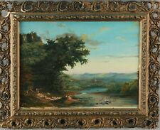Italianate Pastoral Landscape w Ruins Signed Antique 1857 Oil Good Laced Frame