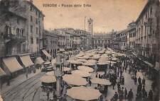 Italy Verona Piazza delle Erbe, square market commerce, railroad, auto car