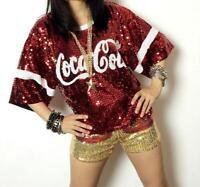 Hip-hop Womens Girls Sequins Dance Show Tops Short Sleeve Loose Casual T-Shirts