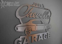 Chevy Chevelle Brushed Steel Garage Sign 2nd generation 68-72 Personalized