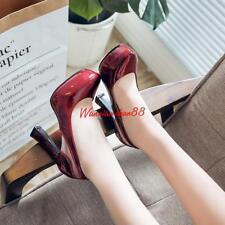 Women's Party Shoes Shiny faux Leather High Block Heel Pumps US Sz 2-10.5