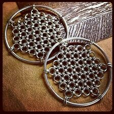 Silver Honeycomb Ear Weights Hangers Hoops Stretched Ears~RETAILS FOR $109.99+!~