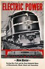 """Vintage Illustrated Travel Poster CANVAS PRINT Train Electric power 24""""X18"""""""