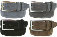 "Granada 100% Suede Nubuck Leather Dress Belt 1-3/8"" Wide"