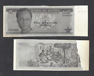 Ghana Face - Back 5 Nkrumah Dollars 1-7-1962 Unissued Photograph Proof