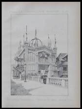 EXPOSITION UNIVERSELLE 1889, PAVILLON CHILI -  PLANCHE ARCHITECTURE - HENRI PICQ