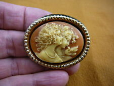 (CM24-40) Girls Two SISTERS twins friends orange + white cameo brass PIN Pendant