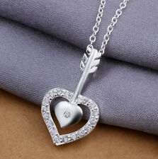 Arrow Cz Chain Woman Necklace N-A328 Elegant 925 Sterling Silver Solid Heart